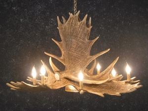 Moose Six Antler Chandelier w/ Downlight - Oversized