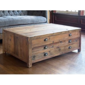 Park Hill Old Pine Map Drawer Coffee Table