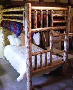 Pine Twin over Twin Log Bunk Bed