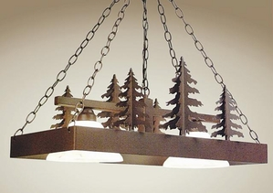 Pool Table Light with 3D Trees