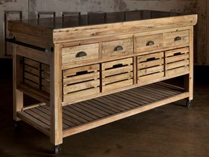 Rolling Kitchen Island with Stone Top