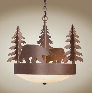 Scout Chandelier with Black Bear