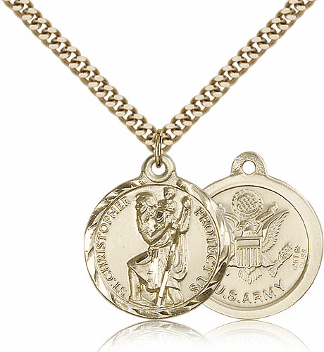 Army Gold-filled St Christopher Patron Saint Necklace by Bliss