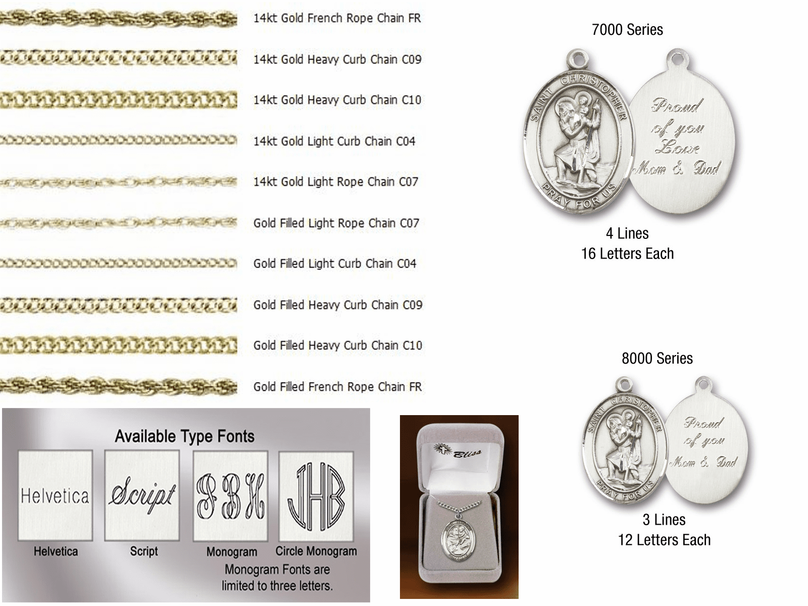 Bliss Manufacturing 14kt Gold Engraving and Chain Options