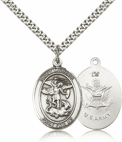 Bliss Mfg Army Pewter St Michael the Archangel Pendant Medals