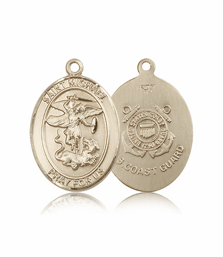 Bliss Mfg Coast Guard 14kt Gold St Michael the Archangel Medal