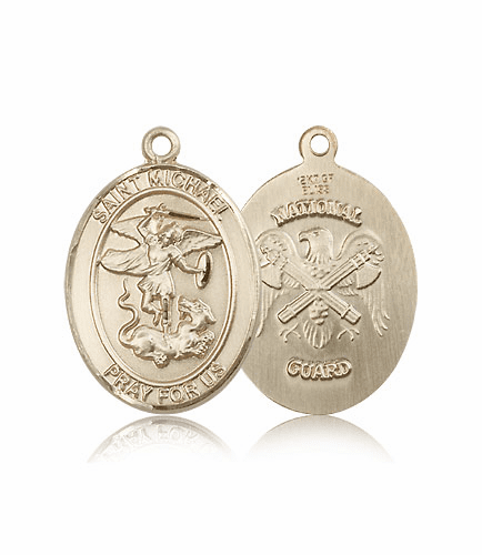 Bliss Mfg National Guard 14kt Gold St Michael the Archangel Medal