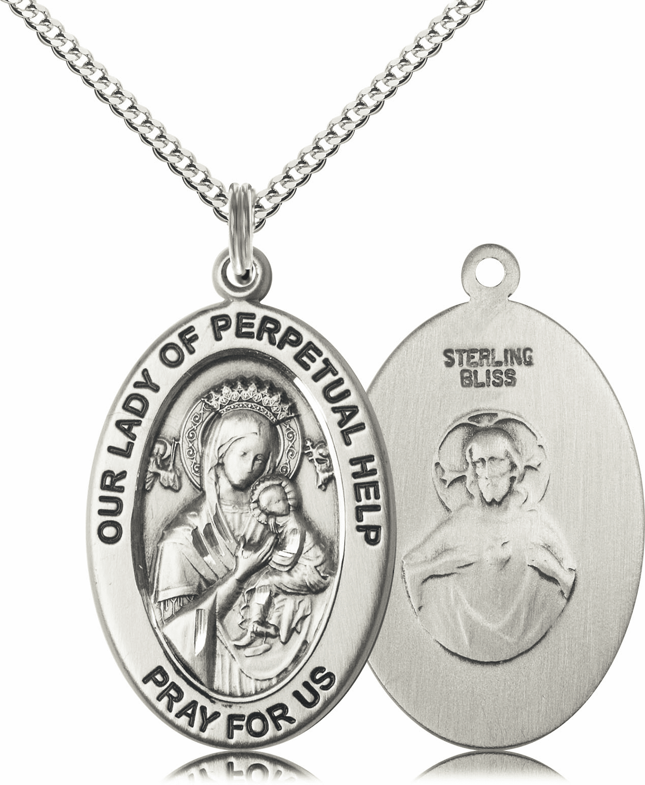 Bliss Mfg Our Lady of Perpetual Help Sterling Silver Medal Necklace w/Chain