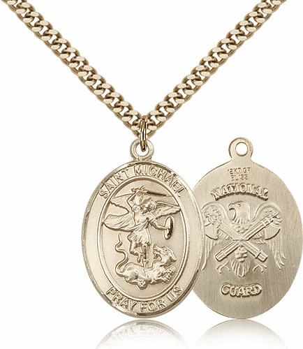 Bliss Mfg St Michael National Guard Patron Saint Gold Filled Medal