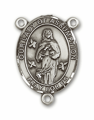 Our Lady of Assumption Sterling Silver Saint Rosary Center by Bliss