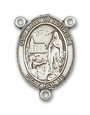 Our Lady of Lourdes Sterling Silver Saint Rosary Center by Bliss
