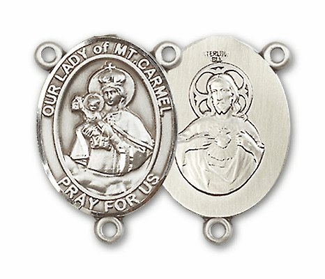 Our Lady of Mount Carmel Sterling Silver Saint Rosary Center by Bliss