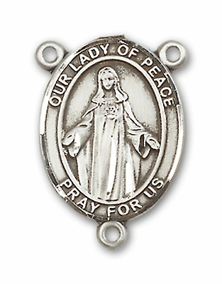 Our Lady of Peace Sterling Silver Saint Rosary Center by Bliss