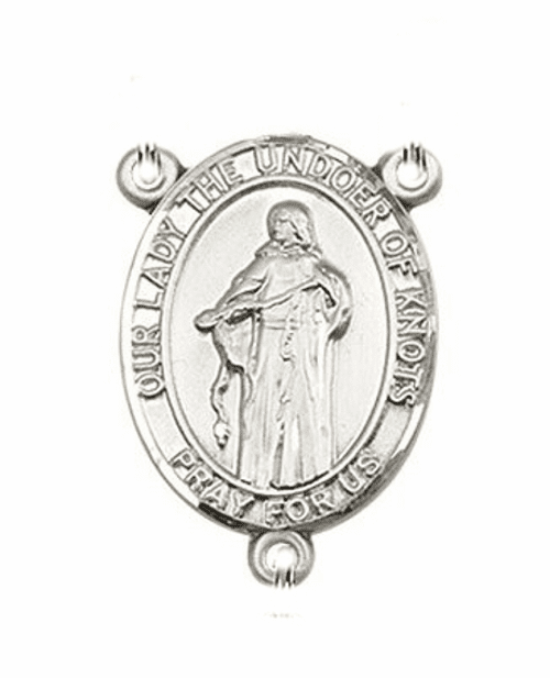 Our Lady of Undoer Knots Sterling Silver Saint Rosary Center by Bliss