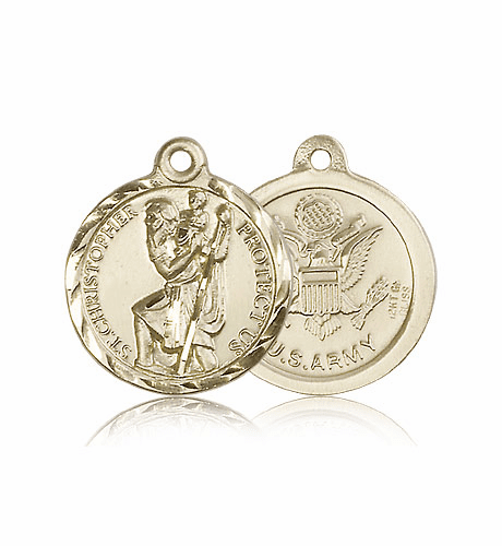 St. Christopher Army 14kt Gold Saint Medal by Bliss