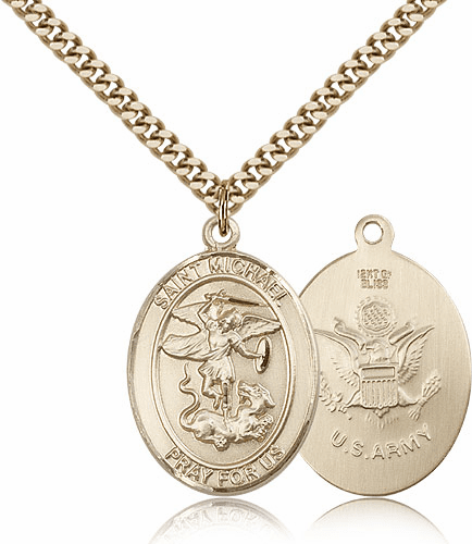 St Michael Gold Filled Army Military Patron Saint Medals