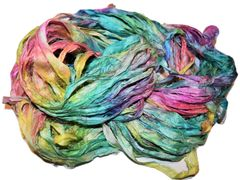 10 Yards Sari Silk Ribbon Rainbow Splash