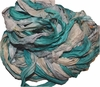 10 Yards Sari SILK Ribbon Aqua Mix