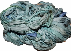 10 Yards Sari SILK Ribbon Blue Green Ocean