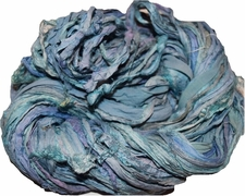 10 Yards Sari SILK Ribbon Blue Lavender Ocean