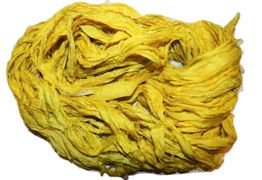10 Yards Sari SILK Ribbon Canary Yellow