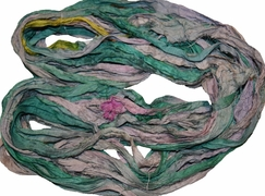 10 Yards Sari SILK Ribbon Jade Multi
