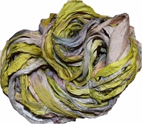 10 Yards Sari SILK Ribbon Olive Yellow Silver