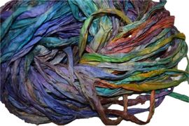 10 Yards Sari SILK Ribbon Parakeet