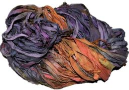 10 Yards Sari SILK Ribbon Purple Orange