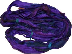 10 Yards Sari SILK Ribbon Purple Tie Dye
