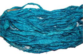 10 Yards Sari SILK Ribbon Turquoise