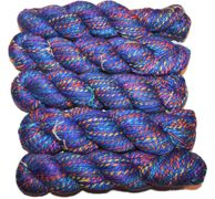 100g Candy SILK worsted weight bright shiny yarn Blue multi