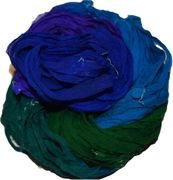 50g Sari Chiffon Silk Ribbon Art Yarn Ocean Shade