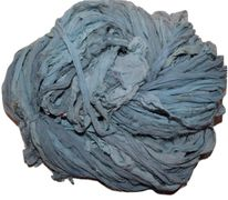 100g Sari Chiffon SILK Ribbon Yarn Blue Stone