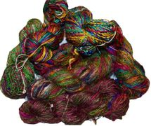 100g Fine Lace weight Himalayan SILK Yarn Green Pink