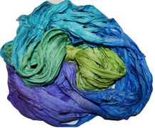 50g Sari Silk Ribbon Art Yarn Purple Teal Lime