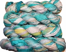 100g Sari SILK Ribbon Art Yarn Aqua Mix
