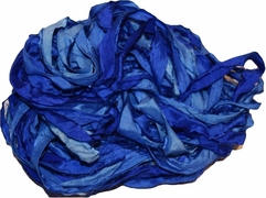 100g Sari SILK Ribbon Art Yarn Blue Duppioni