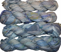 100g Sari SILK Ribbon Art Yarn Blue Pearl