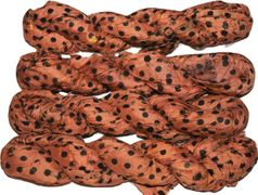 100g Sari SILK Ribbon Yarn Brown Orange Polka Dot