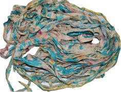 100g Sari SILK Ribbon Art Yarn Cream SeaGreen TieDye