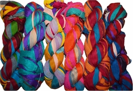 100g Sari SILK Ribbon Art Yarn Fiesta Chiffon Multi