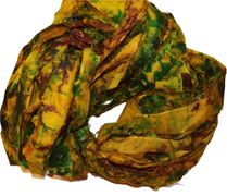 100g Sari SILK Ribbon Art Yarn Green Yellow TieDye