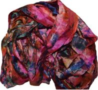 100g Sari SILK Ribbon Art Yarn Magenta Blue TieDye