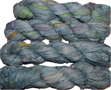 100g Sari SILK Ribbon Art Yarn Ocean Green