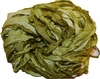 100g Sari SILK Ribbon Art Yarn Olive Green