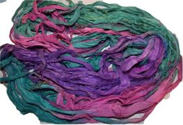 100g Sari SILK Ribbon Art Yarn Pink SeaGreen Multi