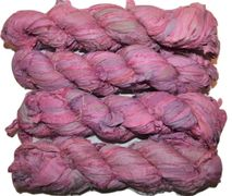 100g Sari SILK Ribbon Art Yarn Purple Pink