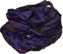 100g Sari SILK Ribbon Art Yarn Purple Tie Dye