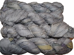 100g Sari SILK Ribbon Art Yarn Silver